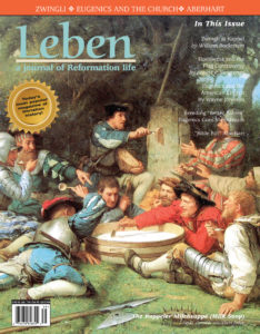 "On the Cover: The Kappeler Milchsuppe (Milk Soup) by Gemälde von Albert Anker, 1869. The First War of Kappel was a conflict in 1529 between the Protestant and the Catholic cantons of the Old Swiss Confederacy. It ended, without any battle due to mediation at the Federal Tagsatzung. While the armies were on the field and negotiations were ongoing, the soldiers of the two armies avoided provoking one another, instead they fraternized, drinking and talking together. Heinrich Bullinger later cast this in terms of the Kappeler Milchsuppe or ""milk soup of Kappel"", an anecdotal account of how a meal was shared by the two armies, the side of Zurich providing the bread and the side of Zug the milk."