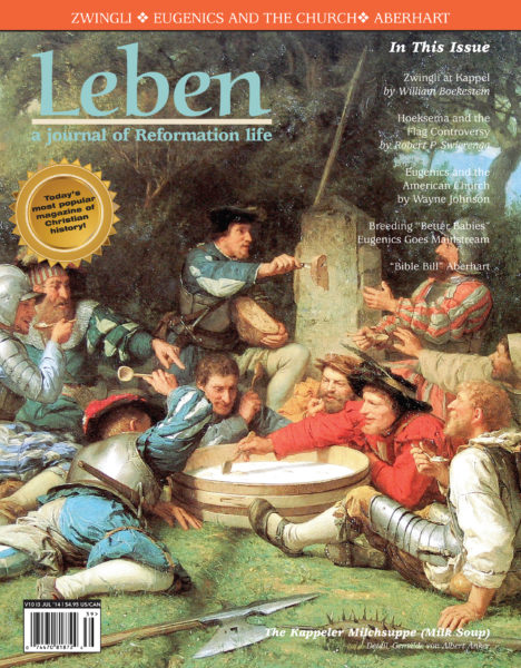 """On the Cover: The Kappeler Milchsuppe (Milk Soup) by Gemälde von Albert Anker, 1869. The First War of Kappel was a conflict in 1529 between the Protestant and the Catholic cantons of the Old Swiss Confederacy. It ended, without any battle due to mediation at the Federal Tagsatzung. While the armies were on the field and negotiations were ongoing, the soldiers of the two armies avoided provoking one another, instead they fraternized, drinking and talking together. Heinrich Bullinger later cast this in terms of the Kappeler Milchsuppe or """"milk soup of Kappel"""", an anecdotal account of how a meal was shared by the two armies, the side of Zurich providing the bread and the side of Zug the milk."""