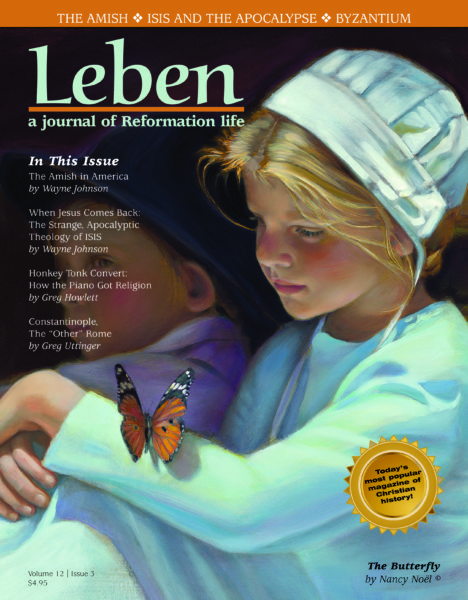 """On the Cover: """"The Butterfly"""" by Nancy Noël. Nancy Noël lives at Llandfair Farm in Zionsville, Indiana, where she raises llamas, horses and a menagerie of other animals. Her love of animals and children, highlighted in her art, has launched her work far beyond Midwestern boundaries. The delicate faces of her Amish Country series portray innocence, strong sense of family, community, and honesty. Visit her website at www.nanoel.com."""