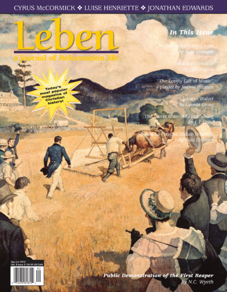 "On the Cover: ""The public demonstration of the first reaper by Cyrus Hall McCormick at Steele's Tavern, Virginia in 1831"" by N. C. Wyeth. The painting shows a crowd of onlookers cheering Cyrus McCormick as he strides behind the reaper. His slave, Jo Anderson, is raking grain from the reaper platform. The painting was commissioned by the International Harvester Company for the reaper centennial in 1931. Courtesy of Wisconsin Historical Society."